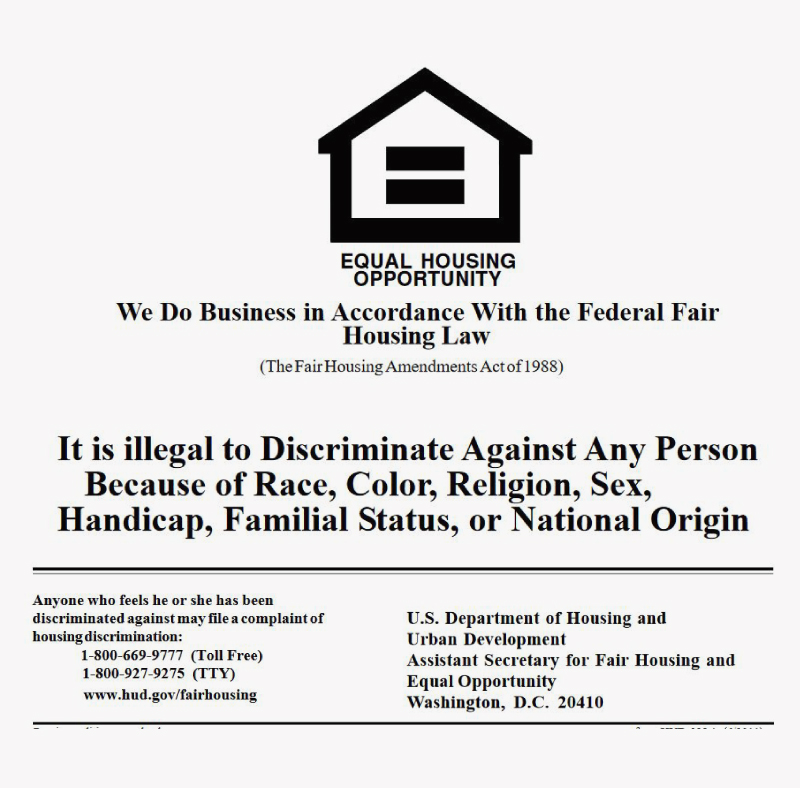 Anyone who feels he or she has been discriminated against may file a complaint of housing discrimination by calling: 1-800-669-9777 (toll free) or 1-800-927-9275 (TTY) U.S. Department of Housing and Urban Development Assistant Secretary for Fair Housing and Equal Opportunity Washington, D.C. 20410