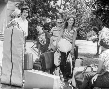 Students move into their on-campus residence halls in the 80s.