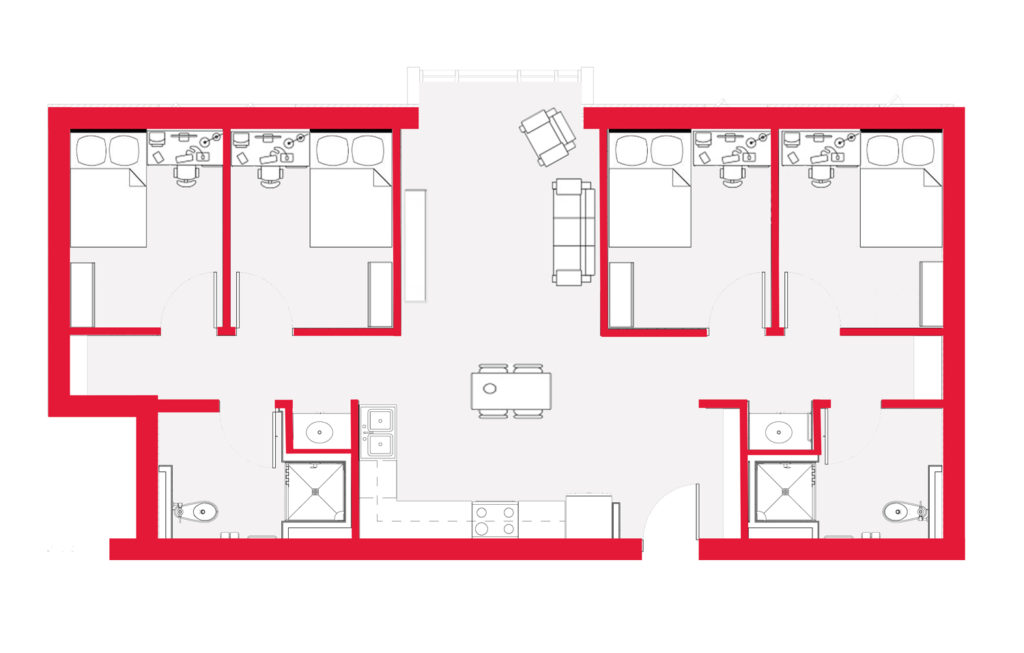Four bedroom apartments at NC State