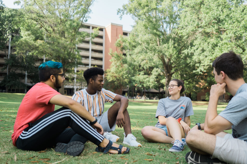 Hero image - students on west campus